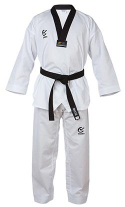 WACOKU Kimono (col noir) de Taekwondo approuvé par la Fédération internationale de Taekwondo