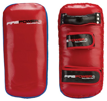 Firepower bleu red leather thai pads